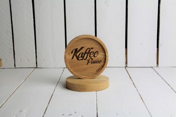Holzuntersetzer Kaffeepause